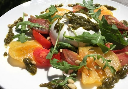 BURRATA WITH ROCKET PESTO SAUCE